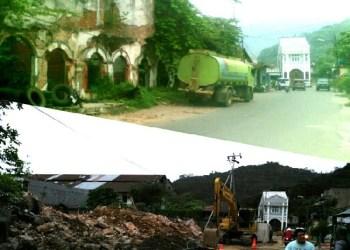 (Atas) Bangunan tua di Jl AR Hakim sebelum dihancurkan dan setelah dihancurkan (bawah). (baim)