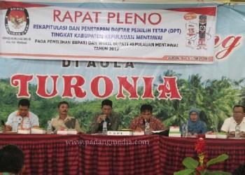 KPUD Mentawai mengumumkan pengundura jadwal penetapan DPT Metawai, Selasa (5/12) malam. (ers)