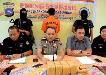 Jajaran Dirresnarkoba Polda Sumbar merilis penangkapan tersangka narkoba jenis ganja, Rabu (12/7). (dio)