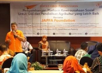 Head of JAPFA Foundation Andi Prasetyo memaparkan materi pada kegiatan FGD di Padang, Sumatera Barat. (ist)