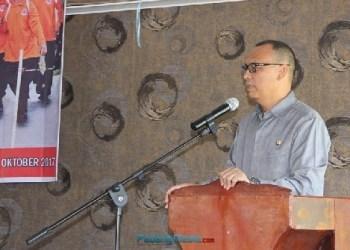 Sambutan Bupati Mentawai pada kegiatan seminar kebencanaan. (ers)