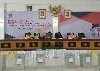 Rapat pleno terbuka KPU Padangpanjang penetapan hasil akhir Pilkada 2018, Kamis (5/7). (de)