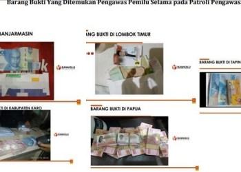 Barang bukti politik uang yang diamankan Bawaslu selama masa tenang. (foto:ist)