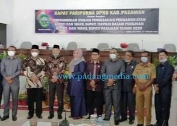 Rapat paripurna DPRD Pasaman tentang penetapan usulan pengesahan pengangkatan bupati - wakil bupati terpilih, Senin (25/1/2021). (Riki)