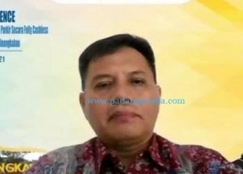 Kepala Perwakilan Bank Indonesia wilayah Sumbar Wahyu Purnama A dalam zoom meeting implementasi penerapan sistem nontunai di parkir BIM, Selasa (15/6/2021). (ist)