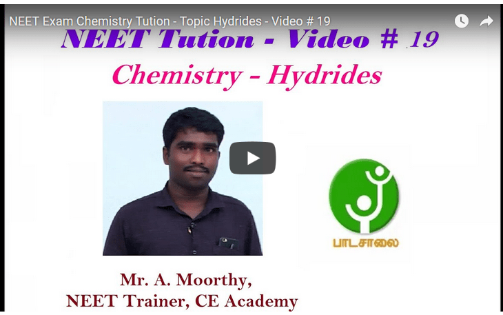 NEET Exam Chemistry Tution - Topic Hydrides - Video # 19