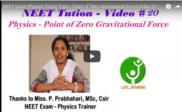 NEET Exam Physics Tution Topic - Point of Zero Gravitational Force Video 20 - Video # 20