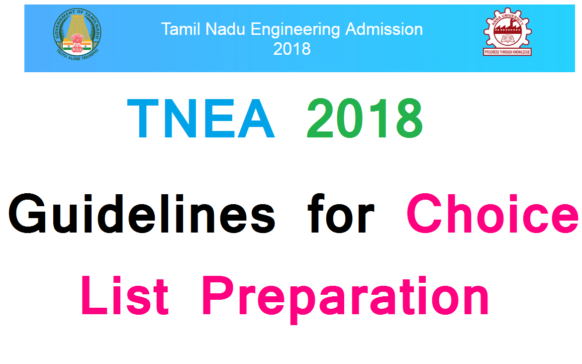 TNEA 2018 Guidelines for Choice List Preparation