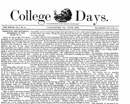 Front page of College Days, June 1, 1879