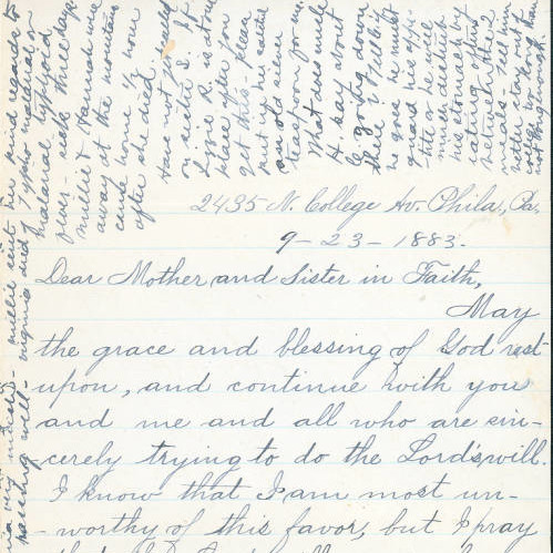 Handwritten Letitia Frantz letter, September 23, 1883