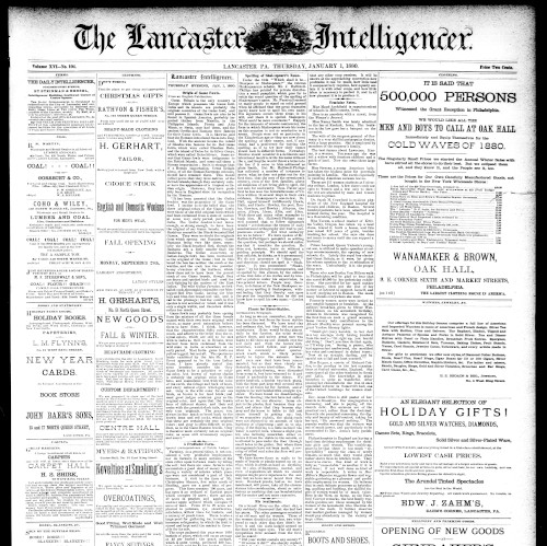 Front page of the Lancaster Daily Intelligencer, January 1, 1880