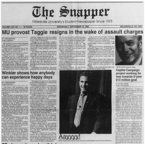Front page of The Snapper, 1993-09-15