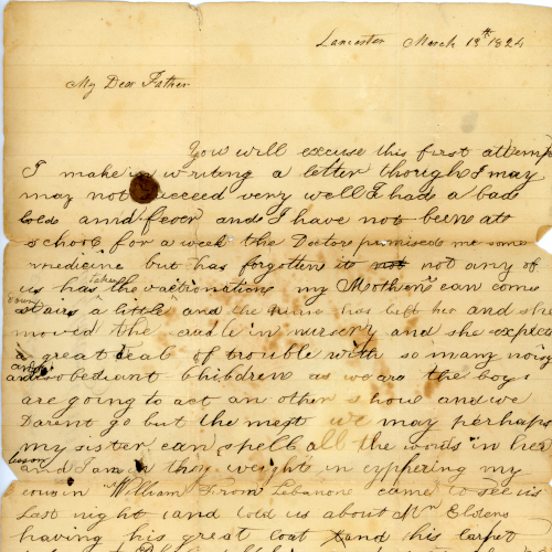 Handwritten letter from 1824