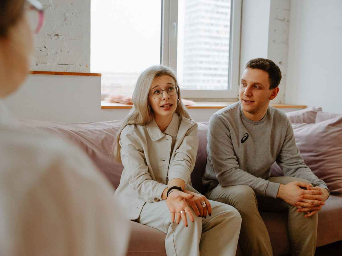 couple talking with therapist