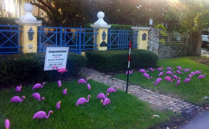 """""""Flamingo Flocking"""" by SOS, Miami. Photo: Victoria Jackson"""