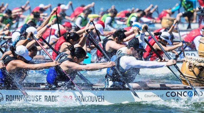 Dragon boat teams racing in Vancouver