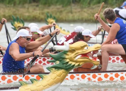 Dragon boat paddlers