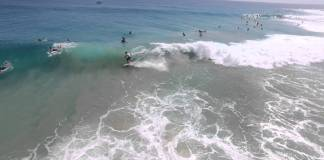 Shot of surfers from drone