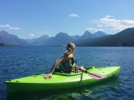 kayaking with mountain background