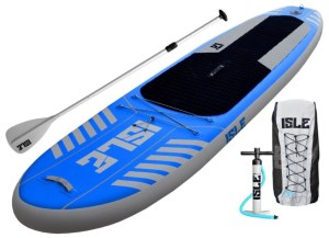 ISLE Airtech 10' All Around Inflatable Stand Up Paddle Board - package