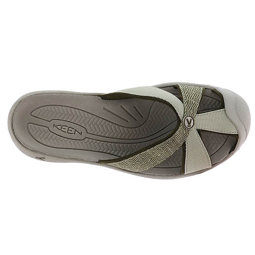 Women's Keen Bali Flip Flop | Agate Grey Dark Olive | Top View