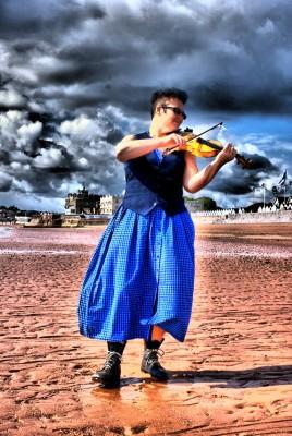 Jules Plays Fiddle on Preston Sands