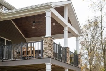 Stone columns supporting deck roof.