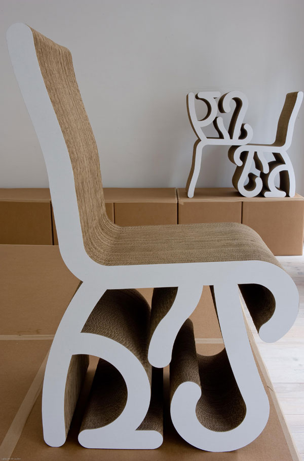 chaise roots, assise, carton, pade design, racine, vegetal