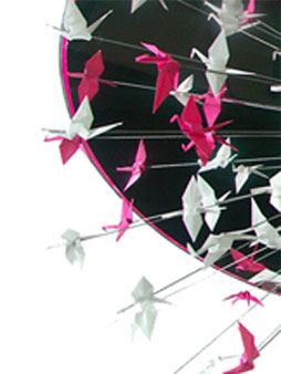lustre, f-light, origami, papier, luminaire, grues, padedesign