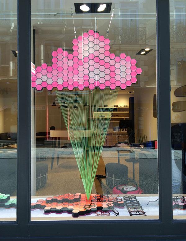 vitrine, nuages, visual merchandising, géométrique, pade design