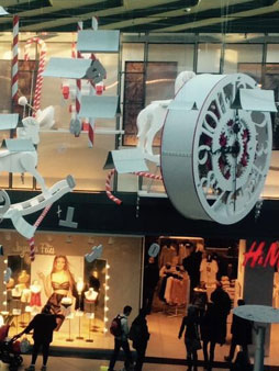 scénographie, mise en espace, visual merchandising, présentation, décor, décoration, visitation, centre commercial, wonderland, alice au pays des merveilles