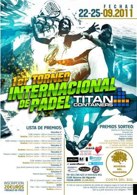 titan padelgood I Torneo Internacional de padel Titan Containers. Reserva del Higuerón.