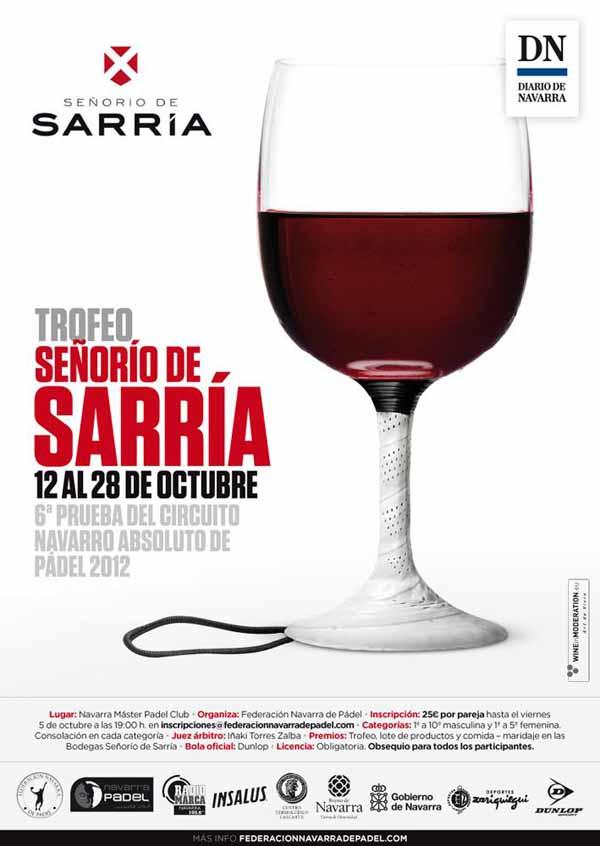 cartelweb TROFEO SEÑORIO DE SARRIA - 6ª Prueba del Circuito Navarro Absoluto de #Padel 2012