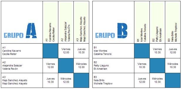 femenino Cuadros y horarios Master Padel Pro Tour 2012