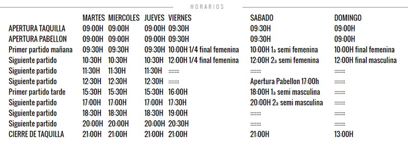 Horarios Master World Padel Tour Valencia