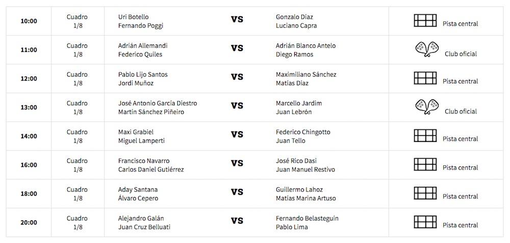 Octavos masculinos WPT Santander 2017 Horarios y enfrentamientos octavos de final World Padel Tour Santander 2017