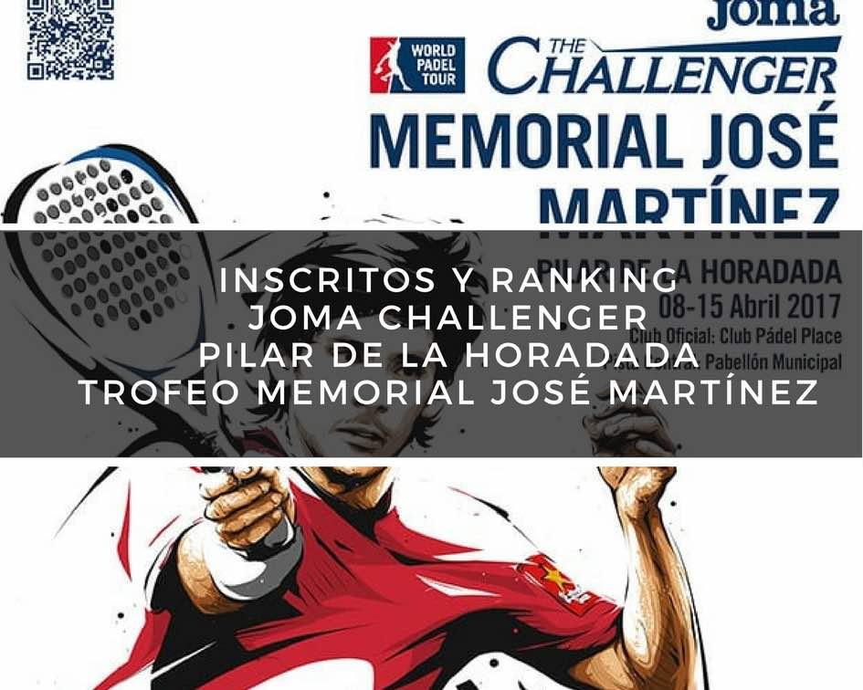 Inscritos y ranking Joma Challenger Pilar de la Horadada Trofeo Memorial José Martínez Inscritos y ranking Joma Challenger Pilar de la Horadada Trofeo Memorial José Martínez