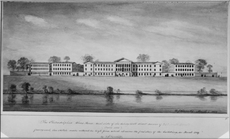 Image of exterior view of PGH, facing east across the Schuylkill River. From Blockley Almshouse collection of Historical Medical Library of the College of Physicians of Philadelphia