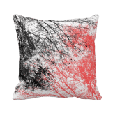 Abstract branches black orange pillow