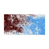 Abstract tree branches burgundy blue poster