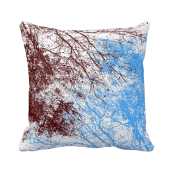Abstract tree branches burgundy blue pillow
