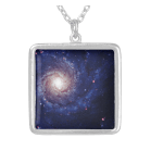 Galaxy photograph blue tints necklace