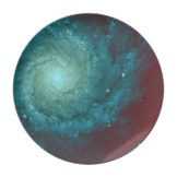 Galaxy photograph red green tints plate