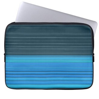 abstract horizontal lines design in blue laptop sleeve