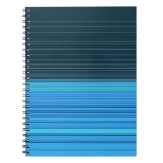 abstract horizontal lines design in blue spiral notebook