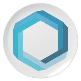 Impossible object blue hexagon plate