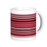 Monochrome and red abstract lines mug