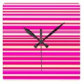 Neon pink and bright yellow horizontal lines wall clock