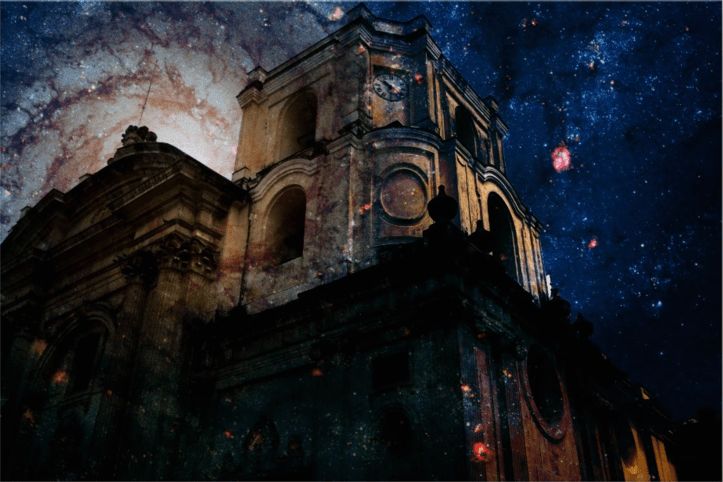Surreal church with galaxy background