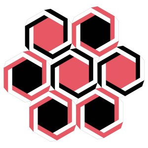 black and red geometric hexagons